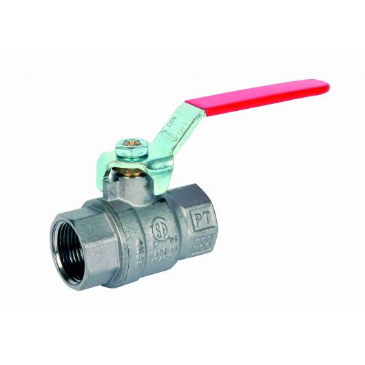ART45NPT Red 2 Piece Brass Ball Valve NPT