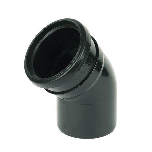 FloPlast Black PVC-U Socket- Spigot Bend 135