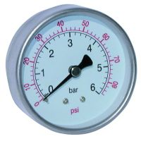 St.St. Dry Gauge Cen. Back Conn. 63mm Face 200PSI BSPT 1/4""