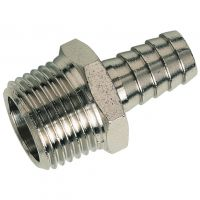 """Nickle Plated Brass M.I. BSPT x Hose Tail 1/4"""" x 7mm"""