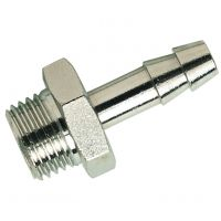 """Nickle Plated Brass M.I. BSPP x Hose Tail 1/4"""" x 9mm"""