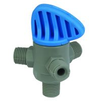 "Tefen PP Blue Three Way Valve 1/4"" BSPT Inlet 1/4"" x 1/8"""