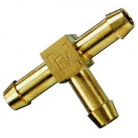 """Brass Equal Tee Single Barbed Hose Tail 1/4"""""""