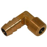 "Brass 90 Degree Elbow M.I. BSPT x Hose Tail 3/8"" x 1/2"""