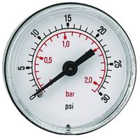 """ABS Guage, Back Conn. 50mm Face Thd Back 0-15PSI BSPT 1/8"""""""
