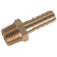 "Brass Male BSPT x Hose Tail 3/8"" x 1/2"""