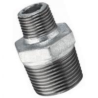 "Galvanised Hexagon Reducing Nipple Male BSPT 1 1/2"" x 1/2"""