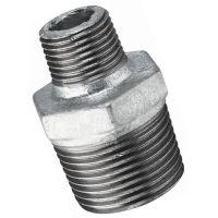 "Galvanised Hexagon Reducing Nipple Male BSPT 1 1/4"" x 1/2"""
