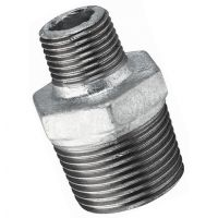 "Galvanised Hexagon Reducing Nipple Male BSPT 2"" x 1"""