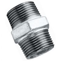 Galvanised Equal Hexagon Nipple Male BSPT 1""