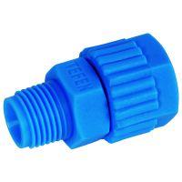 "Tefen Polypropylene Blue Male Connector BSPT 8mm x 1/8"""