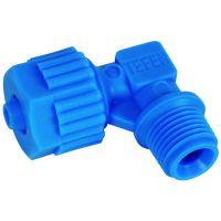 "Tefen Polypropylene Blue Male Elbow BSPT 6mm x 1/8"""