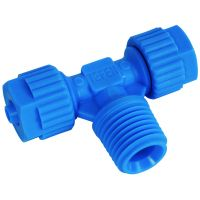 Tefen Polypropylene Blue Male Branch Tee 12mm x 1/4""