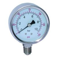 St.St. Dry Gauge Bot. Conn. 63mm Face 0-6000PSI BSPP 1/4""