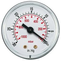 Vacuum Gauge Centre Back Conn. 50mm Face BSPT 1/8""