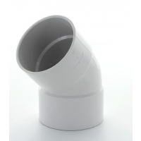 Marley White Waste ABS Double Socket Bend 45 Deg 50mm