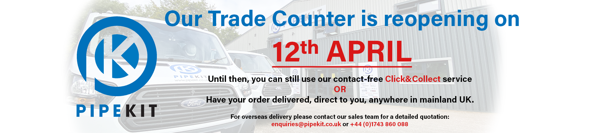 Trade Counter Reopening 12th April